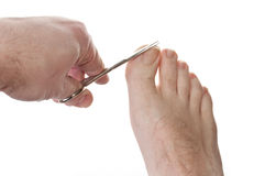 Cutting toe nails. One man cutting toe nails isolated over white background Stock Photo