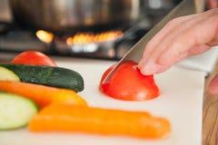 Cutting a Tomato Stock Photos