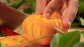 Cutting tomato stock video footage