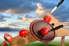 Cutting of tomatoes. Surreal Work - Photomontage with Photoshop. On a leg of table  there is my Autograph Stock Image