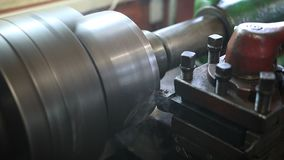 Cutting tool processing on old lathe machine stock video