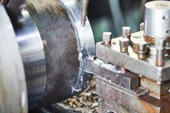 Cutting tool turning metal detail. metalworking industry. Metalwork industry. cutting tool pefroming turning operation of metal detail on lathe at factory royalty free stock photography