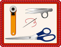 Cutting Tools for Sewing, Quilting, Crafts. Rotary blade cutter, thread clips, shears (scissors), needle and thread for sewing, quilting, crafts, textile arts royalty free illustration