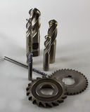 Cutting Tools On White Background. Milling machine cutting tools on white background stock photos