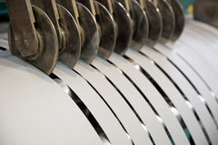 Cutting transformer steel tapes Royalty Free Stock Photography
