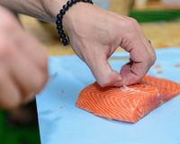 Cutting trout Royalty Free Stock Photos