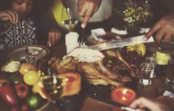 Cutting Turkey Thanksgiving Celebration Concept royalty free stock photos