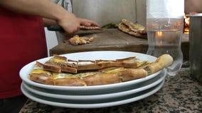 Cutting Turkish Meat Pita stock video