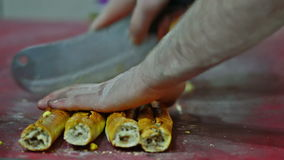 Cutting of Turkish pide. Turkish food. producion of Pide stock video
