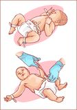Cutting of the umbilical cord on a newborn baby.  stock illustration