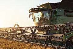 Cutting unit of a combine while harvesting Royalty Free Stock Photos