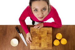 Cutting up food Stock Photo
