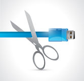 Cutting a usb cable.illustration Stock Images