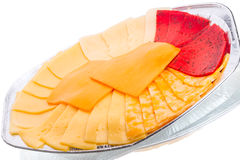 Cutting of various types of cheese Royalty Free Stock Photography