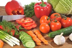 Cutting of vegetables Royalty Free Stock Photos