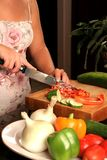 Cutting vegetables Stock Photo