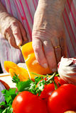 Cutting vegetables Royalty Free Stock Images