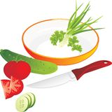 Cutting of vegetables and greenery for lettuce Royalty Free Stock Photography