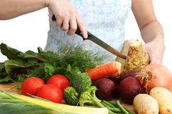 Cutting veggies Stock Photography