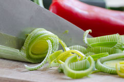 Cutting vegitables with knife Royalty Free Stock Photos