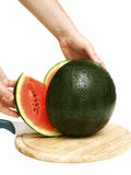 Cutting watermelon Royalty Free Stock Photos