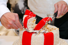 Cutting the Wedding Cake. Hands of a groom holding a knife and cutting into wedding cake Royalty Free Stock Photography