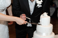 Cutting the Wedding Cake. Hands holding a knife and cutting wedding cake Royalty Free Stock Image