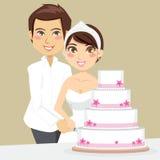 Cutting Wedding Cake Stock Photography