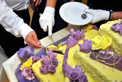 Cutting Wedding Cake. Two hands cutting a wedding cake Stock Photo