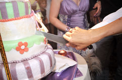 Cutting wedding cake Stock Photos