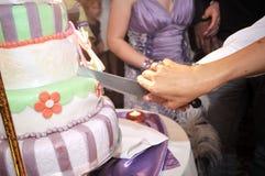 Cutting wedding cake. Bride and groom cutting a wedding cake stock photos