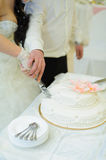 Cutting Wedding Cake Stock Photography