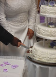 Cutting Wedding Cake. Interracial Couple Cutting Wedding Cake Royalty Free Stock Photo