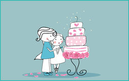 Cutting the wedding cake. Vector illustration of couple cutting the wedding cake Royalty Free Stock Photo
