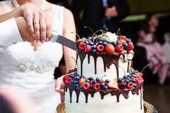 Cutting the wedding cake with berries. On banquet Stock Images
