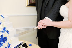 Cutting wedding cake Stock Images