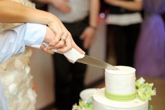 Cutting Wedding Cake Together Stock Images