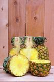 Cutting and whole pineapple Stock Image