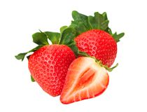 Cutting and whole strawberry Royalty Free Stock Photography