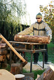Cutting wood stock images