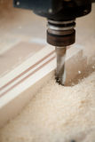 Cutting wood on CNC milling Stock Photography