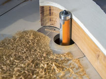 Cutting wood with a CNC milling machine Stock Photo