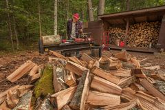 Cutting wood with a log splitter Royalty Free Stock Photos
