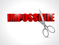 Cutting the word impossible. illustration design Stock Photography