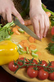 cuttingen hands grönsaker arkivbild