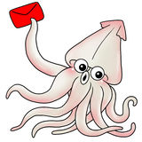 Cuttlefish. Cute cuttlefish hold a lucky draw red packet Royalty Free Stock Photo