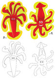 Cuttlefish 2 Sticker And Coloring_eps Stock Images