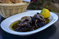 Cuttlefish grilled in ink with lemon Royalty Free Stock Photos