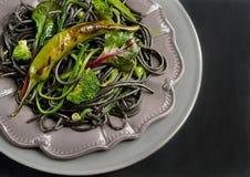 Cuttlefish ink spaghetti Stock Photo