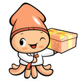 Cuttlefish Mascot the Left hand is holding a big box. Squid Char Stock Images